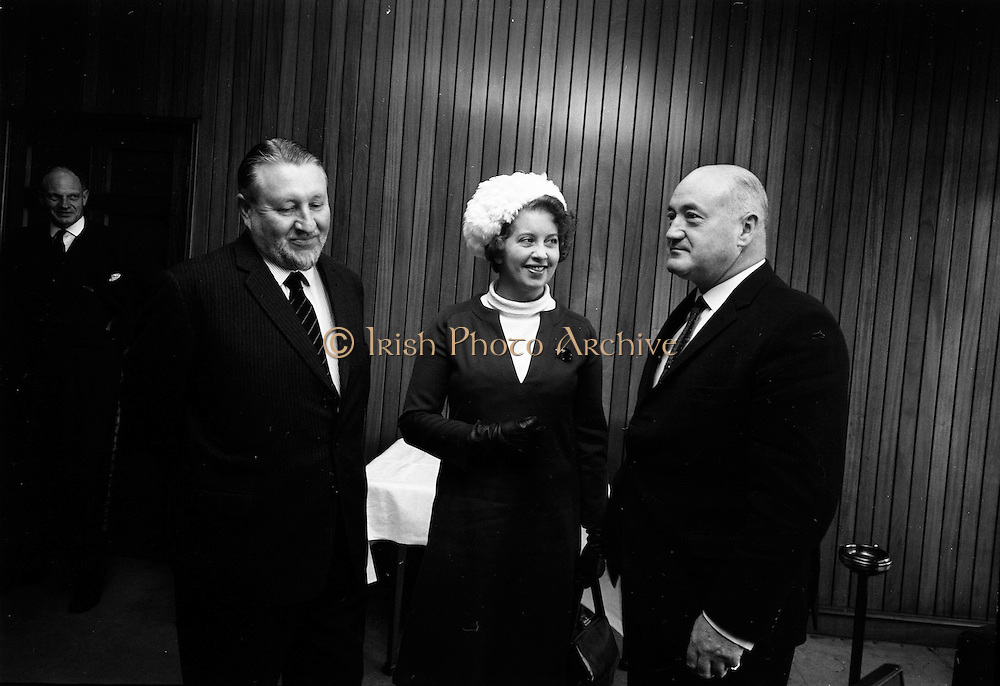 19/09/1967<br /> 09/19/1967<br /> 19 September 1967<br /> British Minister for Social Security, The Rt. Hon. Mrs Judith Harte on two day visit to Dublin. She was received by Mr Joseph Brennan T.D., Minister for Social Welfare at the Department of Social Welfare, Store Street, Dublin on her arrival from Belfast. Picture shows Mrs Harte chatting with Mr Joseph Brennan TD (right) and Sir Andrew Gilchrist, British Ambassador to Ireland at the minister's office.
