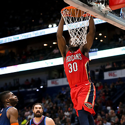 Feb 14, 2019; New Orleans, LA, USA; New Orleans Pelicans center Julius Randle (30) dunks against the Oklahoma City Thunder during the second half at the Smoothie King Center. Mandatory Credit: Derick E. Hingle-USA TODAY Sports
