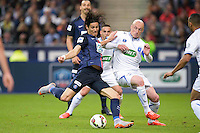 Edinson Cavani / Sebastien Puygrenier - 30.05.2015 - Auxerre / Paris Saint Germain - Finale Coupe de France<br />Photo : Andre Ferreira / Icon Sport