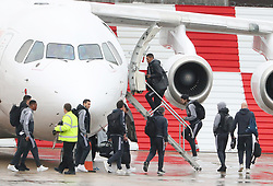 Chris Smalling, Anthony Martial, Matteo Darmian and Daley Blind as the Manchester United team fly to Wales on Tuesday morning for their Carabao Cup match against Swansea City