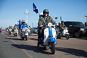 Mod Scooterist in Brighton colours during the Brighton & Hove Albion Football Club Promotion Parade at Brighton Seafront, Brighton, East Sussex. United Kingdom on 14 May 2017. Photo by Ellie Hoad.