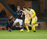 Hearts&rsquo; Jamie Walker and Dundee&rsquo;s Kevin Holt - Dundee v Hearts in the Ladbrokes Scottish Premiership at Dens Park, Dundee. Photo: David Young<br /> <br />  - &copy; David Young - www.davidyoungphoto.co.uk - email: davidyoungphoto@gmail.com