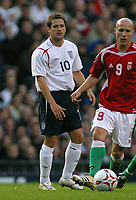 Photo: Paul Thomas.<br /> England v Hungary. International Friendly. 30/05/2006.<br /> <br /> England's Michael Owen (L) looses the ball to Balazs Toth.