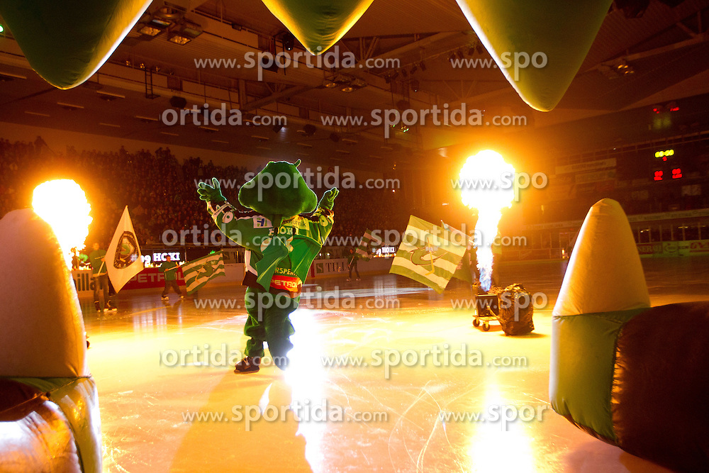 Official mascot dragon Hoki during ice-hockey match between HDD Tilia Olimpija and EHC Liwest Black Wings Linz at second match in Semifinal  of EBEL league, on March 8, 2012 at Hala Tivoli, Ljubljana, Slovenia. (Photo By Matic Klansek Velej / Sportida)