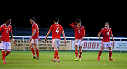 BANGOR, WALES - Tuesday, November 14, 2017: Wales' players show a look of dejection during the UEFA Under-21 European Championship Qualifying Group 8 match between Wales and Romania at the Nantporth Stadium. Cian Harries, Jack Evans, Rhys Norrington-Davies. (Pic by Paul Greenwood/Propaganda)