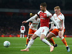 October 31, 2018 - London, England, United Kingdom - London, UK, 31 October, 2018.Aaron Ramsey of Arsenal.During Carabao Cup fourth Round between Arsenal and Blackpool at Emirates stadium , London, England on 31 Oct 2018. (Credit Image: © Action Foto Sport/NurPhoto via ZUMA Press)
