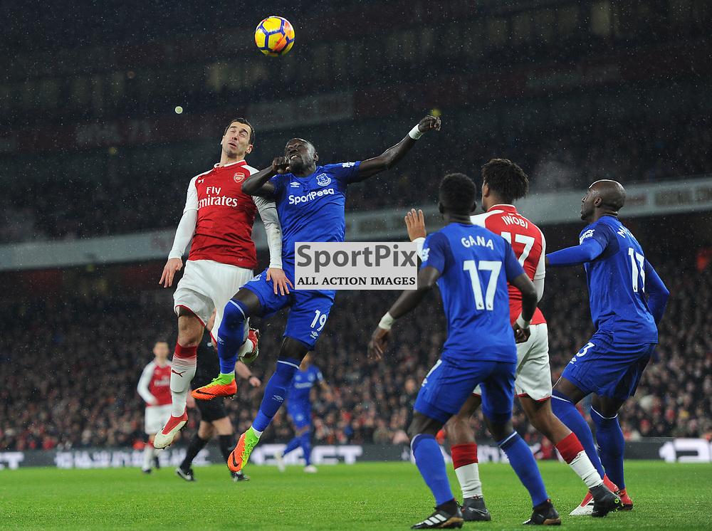 Henrikh Mkhitaryan of Arsenal competes for a header with Oumar Niasse of Everton during Arsenal vs Everton, Premier League, 03.02.18 (c) Harriet Lander | SportPix.org.uk