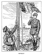 Reveille! (de Gaulle salutes the flag of the Free French hoisted by a British soldier as a Frenchman cries for help from across the English Channel in France)