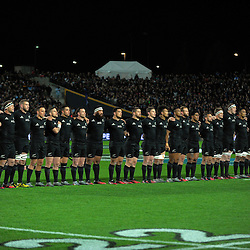 The All Blacks line up for the national anthem during The Rugby Championship match between the NZ All Blacks and Argentina Pumas at FMG Stadium in Hamilton, New Zealand on Saturday, 10 September 2016. Photo: Dave Lintott / lintottphoto.co.nz