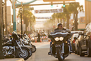 Bikers cruises down Main Street during the 74th Annual Daytona Bike Week March 7, 2015 in Daytona Beach, Florida.
