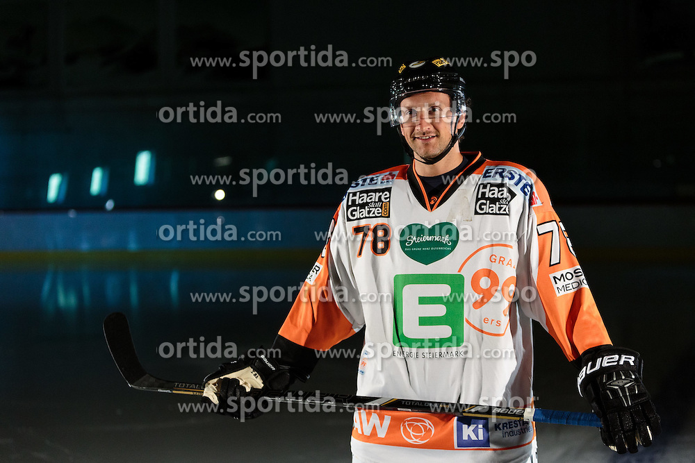10.08.2015, Red Bull Akademie Liefering, Salzburg, AUT, EBEL, Medien Tag, im Bild Philipp Pinter (Graz99ers) // during the Erste Bank Icehockey League Media Da at the Red Bull Football and Icehockey Academy Liefering in Salzburg, Austria on 2015/08/10. EXPA Pictures © 2015, PhotoCredit: EXPA/ JFK