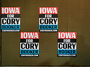 16 APRIL 2019 - CARROLL, IOWA: Campaign signs for Senator CORY BOOKER, (D-NJ), in a hotel event room in Carroll, IA. Sen Booker is running to be the Democratic nominee for the US Presidency. Iowa traditionally hosts the the first selection event of the presidential election cycle. The Iowa Caucuses will be on Feb. 3, 2020.       PHOTO BY JACK KURTZ