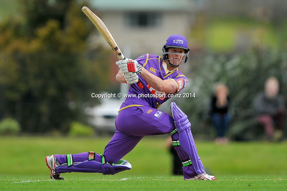 Henry Nicholls of the Canterbury Kings plays a shot, during the Georgie Pie Twenty20 match between the Otago Volts and the Canterbury Kings, held at the University Oval, Dunedin, New Zealand, 20 November 2014. Credit: Joe Allison / www.photosport.co.nz