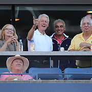 Former President Bill Clinton watching Serena Williams, USA, in action against Victoria Azarenka, Belarus, during the Women's Singles Final at the US Open, Flushing. New York, USA. 8th September 2013. Photo Tim Clayton