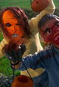 A3A7R9 Two children wearing halloween face masks and holding pumpkin lanterns outdoors