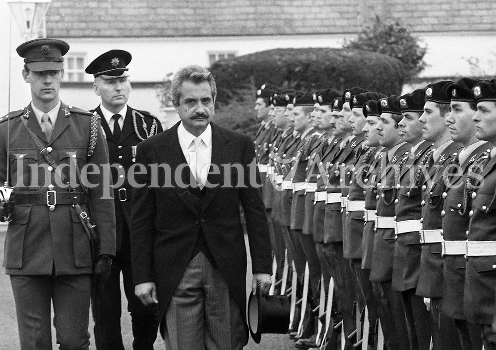 The Ambassador of the Republic of Cyprus His Excellency Mr Angelos Angelides at Aras an Uachtarain, circa October 1985 (Part of the Independent Newspapers Ireland/NLI Collection).