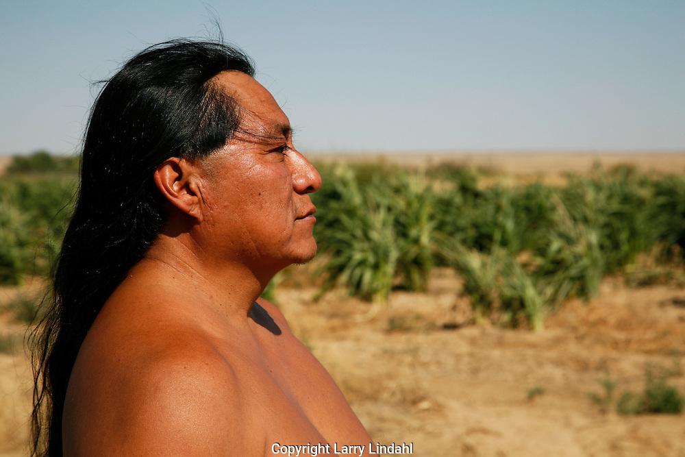 Native American, Hopi farmer, Duane Tawahongva, corn field, Second Mesa, Arizona