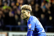 AFC Wimbledon striker Lyle Taylor (33) looking bemused during the EFL Sky Bet League 1 match between AFC Wimbledon and Wigan Athletic at the Cherry Red Records Stadium, Kingston, England on 16 December 2017. Photo by Matthew Redman.