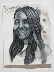April 26, 2018 - Tampa, Florida, U.S. - A charcoal portrait of Parkland victim Alyssa Alhadeff, by Symone Hall in the BFA show at the Scarfone/Hartley Gallery at the University of Tampa, on April 26, 2018 in Tampa, Fla. (Credit Image: © Monica Herndon/Tampa Bay Times via ZUMA Wire)