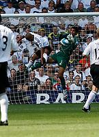 Photo: Steve Bond. <br />Derby County v Portsmouth. Barclays Premiership. 11/08/2007. David James (R) gathers pressure from Rob Earnshaw (L)