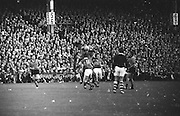 Players on both teams jumps for possession during the All Ireland Senior Gaelic Football Final Kerry v Down in Croke Park on the 22nd September 1968. Down 2-12 Kerry 1-13.