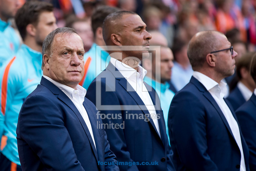 Dick Advocaat, manager of Netherlands (L), Ruud Gullit, assistant coach of Netherlands (M), Fred Grim, assistant coach of Netherlands (R) before the 2018 FIFA World Cup Qualifying match at Amsterdam Arena, Amsterdam<br /> Picture by Joep Joseph Leenen/Focus Images Ltd +316 5261929<br /> 03/09/2017<br /> ***NETHERLANDS OUT***