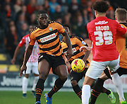 Barnet striker John Akinde looks to control the ball during the Sky Bet League 2 match between Barnet and Exeter City at The Hive Stadium, London, England on 31 October 2015. Photo by Bennett Dean.