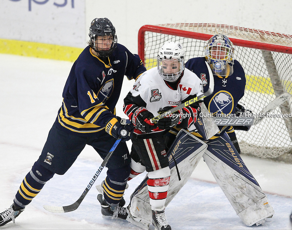 GEORGETOWN, ON  - MAR 2,  2017: Ontario Junior Hockey League, playoff game between the Georgetown Raiders and the Buffalo Jr Sabres. Jack Tucker #14 of the Buffalo Jr. Sabres battles for position with Jordan Crocker #9 of the Georgetown Raiders during the first period.<br /> (Photo by Tim Bates / OJHL Images)