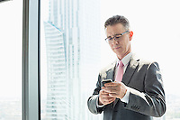 Mature businessman using cell phone by window