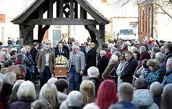 © Licensed to London News Pictures. 01/12/2017. Connah's Quay, UK. The coffin arrives at the funeral of Carl Sargeant, who died four days after stepping down from his post in the Welsh Government after unspecified allegations of sexual harassment were made against him. He had denied the allegations. Photo credit: Joel Goodman/LNP