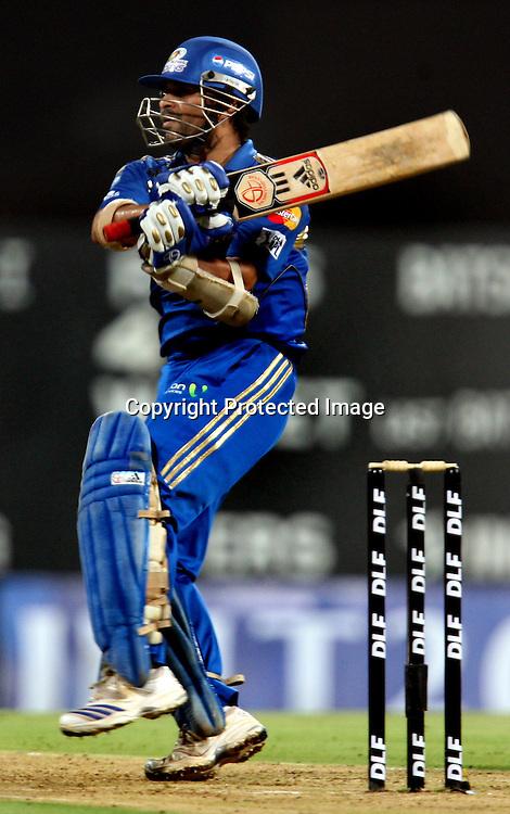 Mumbai Indians Batsman Sachin Tendulkar Hit The Shot Against Deccan Chargers During The Deccan Chargers vs Mumbai Indians, 25th Twenty20 match Indian Premier League- 2009/10 season Played at Dr DY Patil Sports Academy, Mumbai 28 March 2010 - day/night (20-over match)
