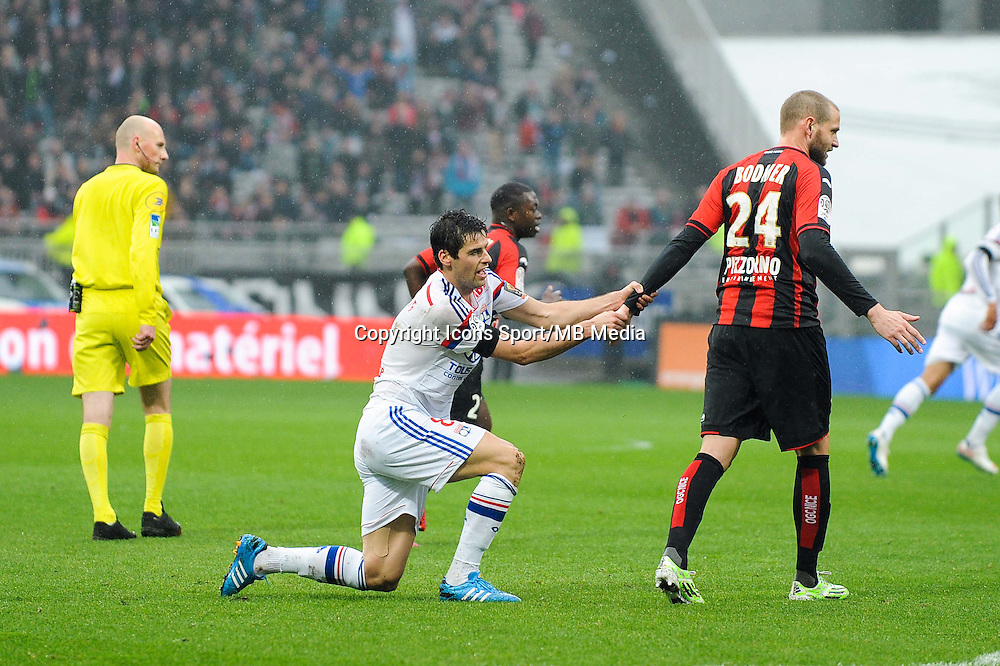 Mathieu BODMER / Yoann GOURCUFF - 21.03.2015 - Lyon / Nice - 30eme journee de Ligue 1 -<br />
