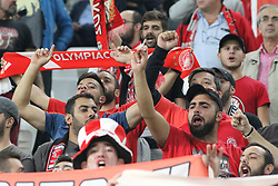 September 27, 2017 - Turin, Piedmont, Italy - Fans of Olympiakos during the UEFA Champions League (Group D) football match between Juventus FC and Olympiakos FC  at Allianz Stadium on 27 September, 2017 in Turin, Italy. (Credit Image: © Massimiliano Ferraro/NurPhoto via ZUMA Press)