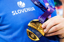Gold medal at Trophy ceremony after winning during the Final basketball match between National Teams  Slovenia and Serbia at Day 18 of the FIBA EuroBasket 2017 when Slovenia became European Champions 2017, at Sinan Erdem Dome in Istanbul, Turkey on September 17, 2017. Photo by Vid Ponikvar / Sportida