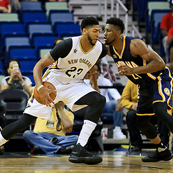 Oct 4, 2016; New Orleans, LA, USA;  New Orleans Pelicans forward Anthony Davis (23) is defended by Indiana Pacers forward Thaddeus Young (21) during the first quarter of a game at the Smoothie King Center. Mandatory Credit: Derick E. Hingle-USA TODAY Sports