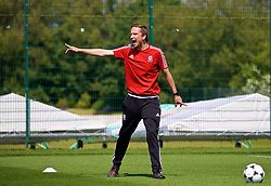NEWPORT, WALES - Saturday, May 19, 2018: Pepijn Lijnders gives a practical demonstration during day two of the Football Association of Wales' National Coaches Conference 2018 at Dragon Park. (Pic by David Rawcliffe/Propaganda)