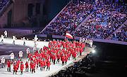 07.02.2014. Sochi, Russia. Opening Ceremonies for the XXII Olympic Winter Games Sochi 2014. FISHT Stadium, Adler/Sochi, Russia Austrian team with flagbearer Mario Stecher