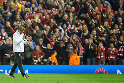 14.04.2016, Anfield Road, Liverpool, ENG, UEFA EL, FC Liverpool vs Borussia Dortmund, Viertelfinale, Rueckspiel, im Bild Trainer Juergen Klopp (FC Liverpool) vor the Kop // during the UEFA Europa League Quaterfinal, 2nd Leg match between FC Liverpool vs Borussia Dortmund at the Anfield Road in Liverpool, Great Britain on 2016/04/14. EXPA Pictures &copy; 2016, PhotoCredit: EXPA/ Eibner-Pressefoto/ Schueler<br /> <br /> *****ATTENTION - OUT of GER*****