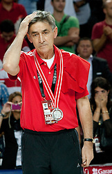 Head coach  of Turkey Bogdan Tanjevic at medal ceremony after the finals basketball match between National teams of Turkey and USA at 2010 FIBA World Championships on September 12, 2010 at the Sinan Erdem Dome in Istanbul, Turkey.  USA defeated Turkey 81 - 64 and became World Champion 2010. (Photo By Vid Ponikvar / Sportida.com)