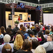 Celebrity Chef Nadiya Hussain demonstration at The Chocolate Show, at the Olympia exhibit center in London on October 13, 2017 is the ultimate celebration of all things cocoa-related.