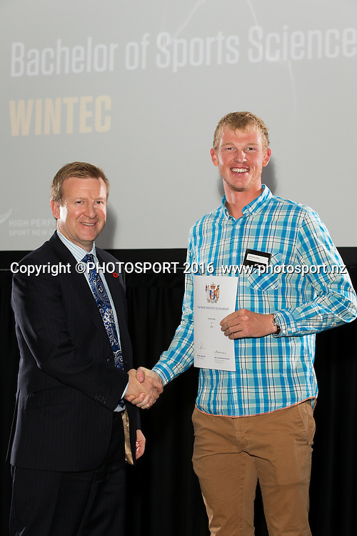 Hon. Jonathan Coleman presents certificate to Anthony Allen at the High Performance Sport NZ Waikato ceremony for the Prime Minister's Scholarship Awards, at Sir Don Rowlands Centre, Lake Karapiro, Cambridge, New Zealand, 20 April 2016. Copyright Photo: Stephen Barker / www.photosport.nz