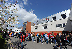Outside of the Goldsands Stadium prior to kick off. - Photo mandatory by-line: Alex James/JMP - Mobile: 07966 386802 18/04/2014 - SPORT - FOOTBALL - Bournemouth - Goldsands Stadium - AFC Bournemouth v Sheffield Wednesday - Sky Bet Championship