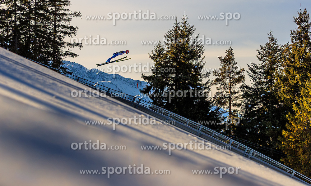 28.01.2017, Casino Arena, Seefeld, AUT, FIS Weltcup Nordische Kombination, Seefeld Triple, Skisprung, im Bild Manuel Faisst (GER) // Manuel Faisst of Germany in action during his Trail Jump of Skijumping of the FIS Nordic Combined World Cup Seefeld Triple at the Casino Arena in Seefeld, Austria on 2017/01/28. EXPA Pictures © 2017, PhotoCredit: EXPA/ JFK