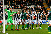 All lined up awaiting the incoming corner during the Ladbrokes Scottish Premiership match between St Mirren and Hibernian at the Simple Digital Arena, Paisley, Scotland on 29th September 2018.