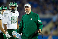 Eastern Michigan Eagles head coach Chris Creighton yells at players during the first half at Kroger Field in Lexington, Ky., Saturday, Sept. 7, 2019.