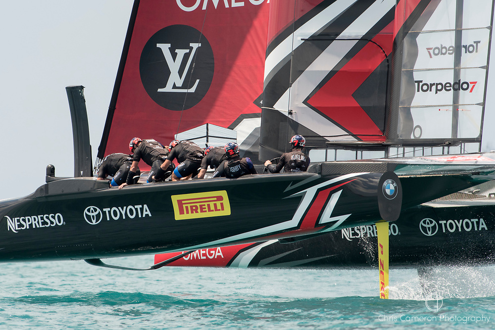 The Great Sound, Bermuda, 17th June Emirates Team New Zealand increase their lead over Oracle Team USA. Race one on day one of the America's Cup.