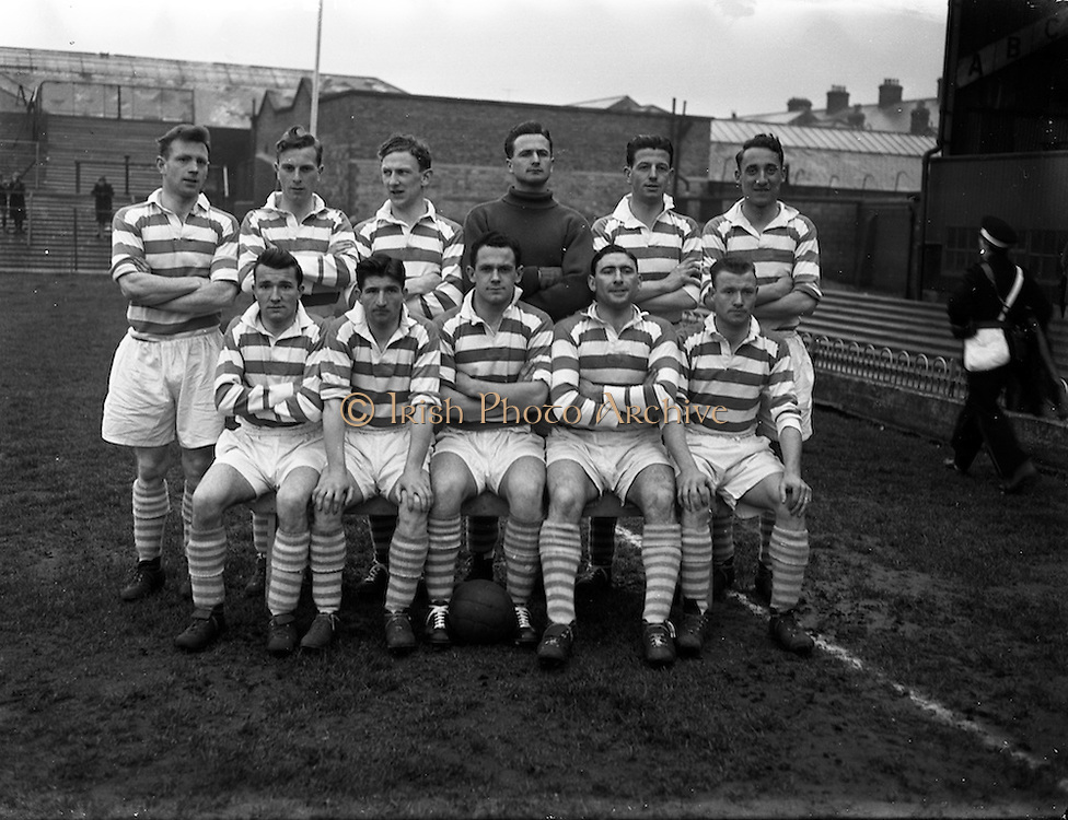 13/04/1956<br /> 04/13/1956<br /> 13 April 1956<br /> Soccer: St Patrick's Athletic v Shamrock Rovers at Dalymount Park, Dublin. The Shamrock Rovers Team.