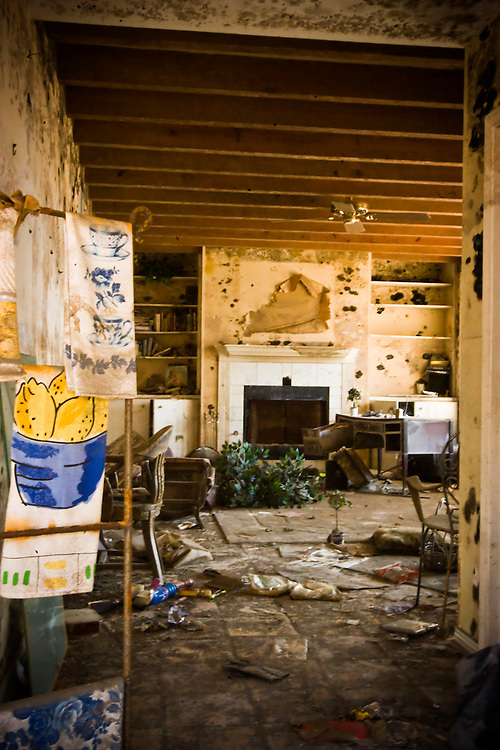 The living room of a home in the Lakeview area that suffered major damage due to Hurricane Katrina flooding in New Orleans, Louisiana. Many of these homes' interiors like this one remain untouched; floors are covered in flood debris and rubble while the walls and surfaces are still scab-covered layers of mold.
