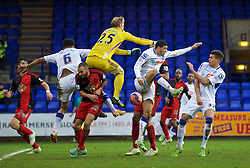 BIRKENHEAD, ENGLAND - Saturday, January 3, 2015: Swansea City's goalkeeper Gerhard Tremmel fumbles a punch during the FA Cup 3rd Round match against Tranmere Rovers at Prenton Park. (Pic by David Rawcliffe/Propaganda)