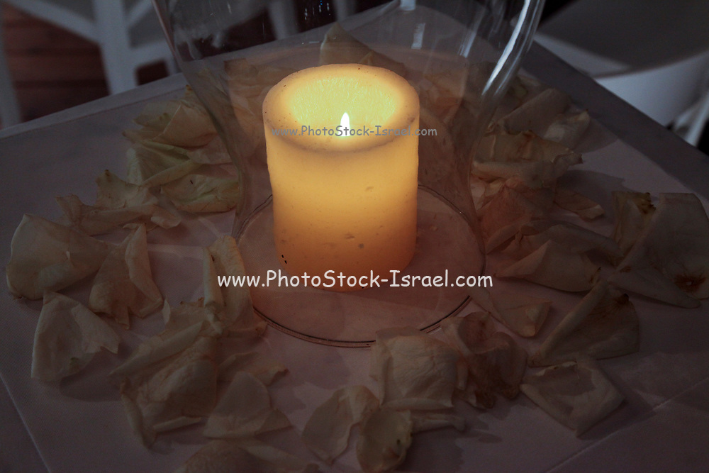 Lit decorative candle